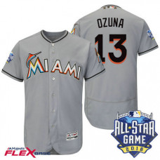 Miami Marlins #13 Marcell Ozuna Grey 2016 All-Star Game Patch Flex Base Jersey