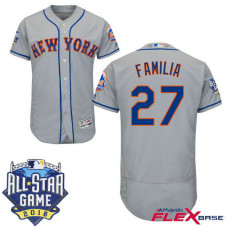 New York Mets #27 Jeurys Familia Grey 2016 All-Star Game Patch Flex Base Jersey