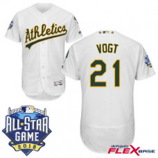 Oakland Athletics #21 Stephen Vogt White 2016 All-Star Game Patch Flex Base Jersey