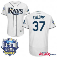 Tampa Bay Rays #37 Alex Colome White 2016 All-Star Game Patch Flex Base Jersey
