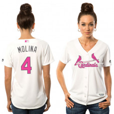Women - 2016 Mother's Day St. Louis Cardinals #4 Yadier Molina White Home Cool Base Jersey