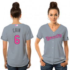 Women - 2016 Mother's Day Kansas City Royals #6 Lorenzo Cain Grey Away Cool Base Jersey