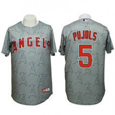 Angels #5 Albert Pujols Authentic 3D Fashion Grey Jersey