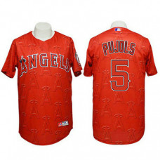 Angels #5 Albert Pujols Authentic 3D Fashion Red Jersey