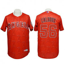 Angels #56 Kole Calhoun Authentic 3D Fashion Red Jersey