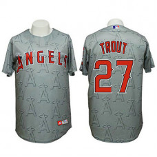 Angels #27 Mike Trout Authentic 3D Fashion Grey Jersey
