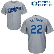 Los Angeles Dodgers #22 Clayton Kershaw Grey Cool Base Alternate Away Jersey