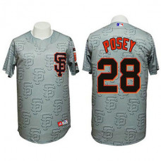 San Francisco Giants #28 Buster Posey Authentic 3D Fashion Grey Jersey