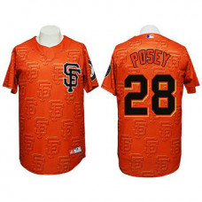 San Francisco Giants #28 Buster Posey Authentic 3D Fashion Orange Jersey