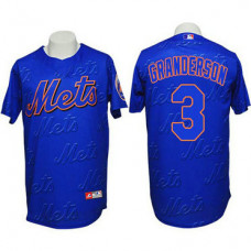 New York Mets #3 Curtis Granderson Authentic 3D Fashion Blue Jersey