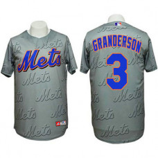 New York Mets #3 Curtis Granderson Authentic 3D Fashion Grey Jersey