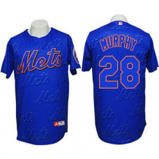 New York Mets #28 Daniel Murphy Authentic 3D Fashion Blue Jersey