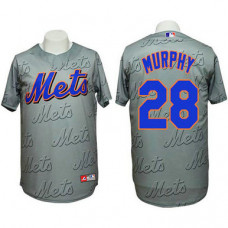 New York Mets #28 Daniel Murphy Authentic 3D Fashion Grey Jersey