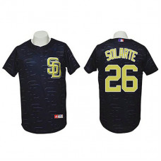 San Diego Padres #26 Yangervis Solarte Authentic 3D Fashion Black Jersey