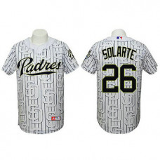 San Diego Padres #26 Yangervis Solarte Authentic 3D Fashion White Jersey
