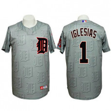 Detroit Tigers #1 Jose Iglesias Authentic 3D Fashion Grey Jersey