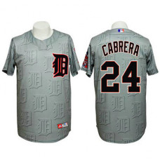 Detroit Tigers #24 Miguel Cabrera Authentic 3D Fashion Grey Jersey