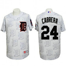 Detroit Tigers #24 Miguel Cabrera Authentic 3D Fashion White Jersey