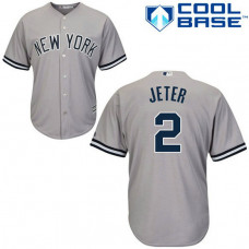 New York Yankees #2 Derek Jeter Grey Road Authentic Cool Base Jersey