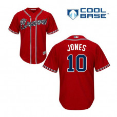 YOUTH Atlanta Braves #10 Chipper Jones Alternate Cool Base Red Authentic Jersey