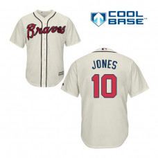 YOUTH Atlanta Braves #10 Chipper Jones Alternate 2 Cool Base Cream Replica Jersey