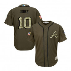 YOUTH Atlanta Braves #10 Chipper Jones Salute to Service Green Replica Jersey