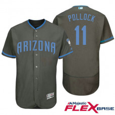 Arizona Diamondbacks #11 A.J. Pollock Grey Fashion 2016 Father's Day Flex Base Jersey