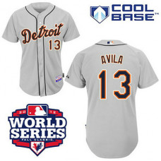 Detroit Tigers #13 Alex Avila Cool Base Grey with 2012 World Series Patch Jersey