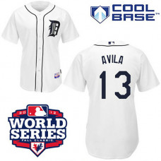 Detroit Tigers #13 Alex Avila Cool Base White with 2012 World Series Patch Jersey