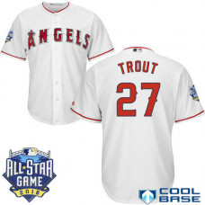 Los Angeles Angels #27 Mike Trout White 2016 All Star Game Patch Cool Base Jersey