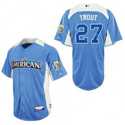 Los Angeles Angels of Anaheim #27 Mike Trout Light Blue 2012 All-Star BP Jersey