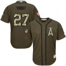 Los Angeles Angels #27 Mike Trout Olive Camo Jersey