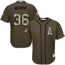 Los Angeles Angels #36 Jered Weaver Olive Camo Jersey