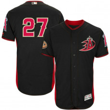 Los Angeles Angels #27 Mike Trout Black Black Ducks Batting Practice Jersey