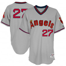 Los Angeles Angels #27 Mike Trout Grey 1977 Throwback Turn Back the Clock Authentic Player Jersey