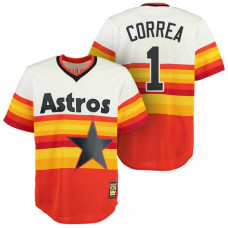 Houston Astros #1 Carlos Correa Orange Cool Base Cooperstown Throwback Jersey