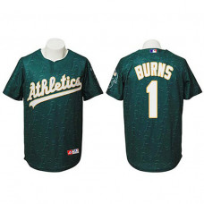 Oakland Athletics #1 Billy Burns Authentic Watermark Fashion Green Jersey