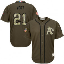 Oakland Athletics #21 Stephen Vogt Olive Camo Jersey