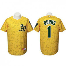 Oakland Athletics #1 Billy Burns Authentic Watermark Fashion Gold Jersey