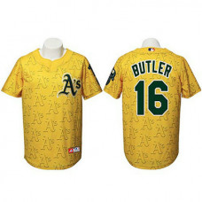 Oakland Athletics #16 Billy Butler Authentic Watermark Fashion Gold Jersey