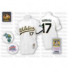 Oakland Athletics #17 Glenn Hubbard White ThrowbackJersey