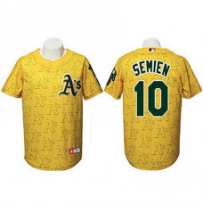 Oakland Athletics #10 Marcus Semien Authentic Watermark Fashion Gold Jersey