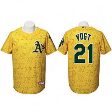 Oakland Athletics #21 Stephen Vogt Authentic Watermark Fashion Gold Jersey