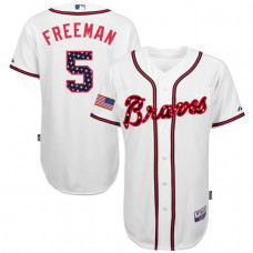 Atlanta Braves Freddie Freeman #5 White 2016 Independence Day Stars & Stripes Authentic Cool Base Jersey