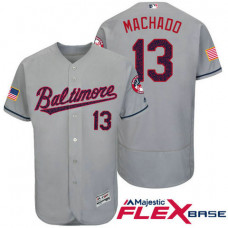 Baltimore Orioles #13 Manny Machado Grey Stars & Stripes 2016 Independence Day Flex Base Jersey