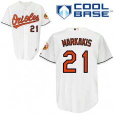 Baltimore Orioles #21 Nick Markakis White Home Jersey