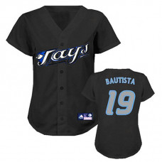 Women - Toronto Blue Jays #19 Jose Bautista BlackFashion Jersey