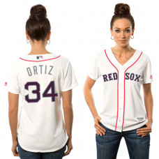 Women - Boston Red Sox David Ortiz #34 White 2016 Independence Day Stars & Stripes Cool Base Jersey