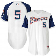 Atlanta Braves #5 Freddie Freeman White 1974 Throwback Turn Back the Clock Authentic Player Jersey