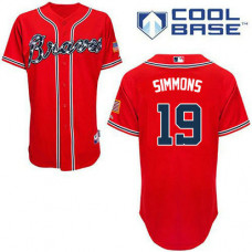 YOUTH Atlanta Braves #19 Andrelton SimmonsAuthentic Red Alternate Cool Base Jersey